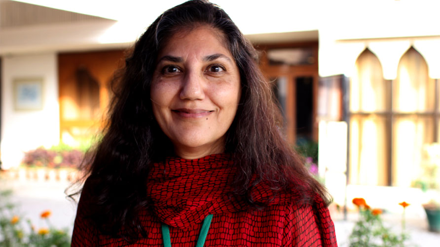 Author Maniza Naqvi at the Karachi Literature Festival. - Photo by Sara Faruqi/Dawn.com