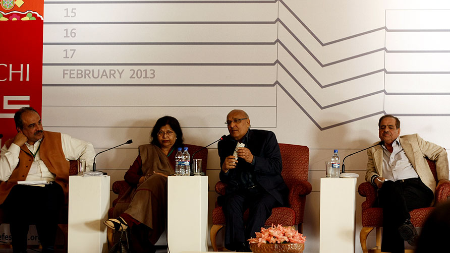 Panelists at the Resonance of Pulp Fiction in the Popular Imagination sessions. - Photo by Eefa Khalid/Dawn.com