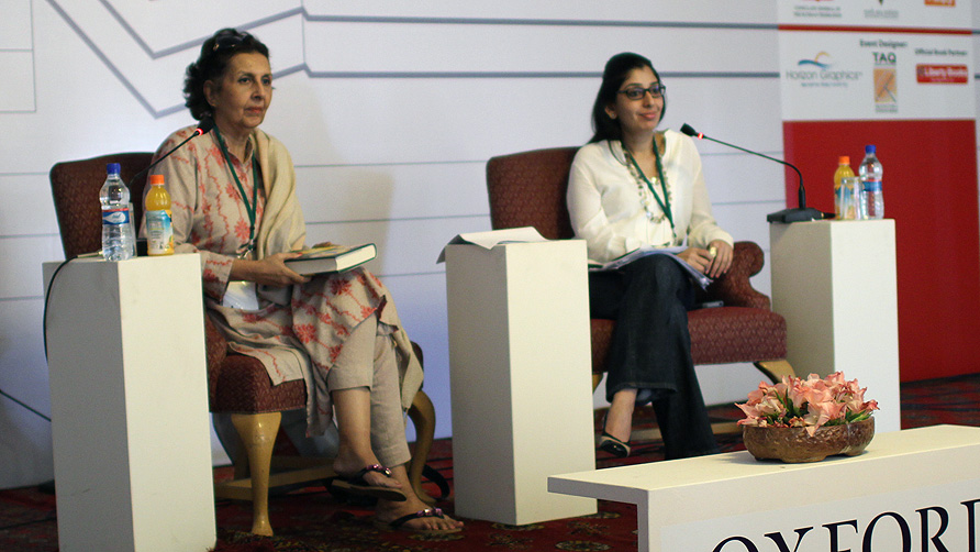 Muneeza Shamsie and Razeshta Sethna discussing award winning fiction 2010-2013. -Photo by Sara Faruqi/Dawn.com