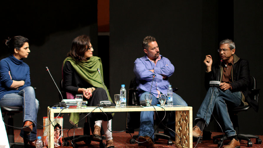 The panelists from Globalization of Pakistan's Literature. - Photo by Sara Faruqi/Dawn.com