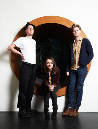 This January 18 photo shows members of the American folk rock band The Lumineers, from left, Jeremiah Fraites, Neyla Pekarek and Wesley Schultz at the Dream Downtown Hotel in New York. —Photo by AP