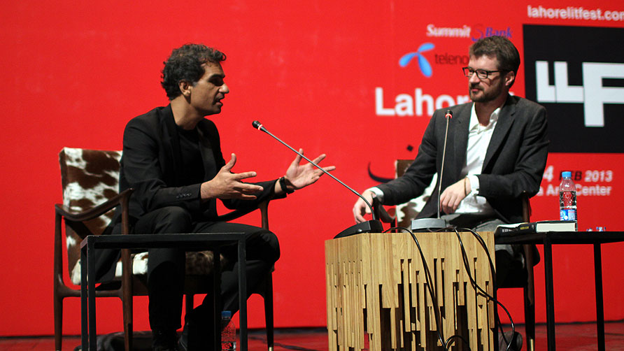 Nadeem Aslam discusses his book 'The Blind Man's Garden' with Declan Walsh. - Photo by Sara Faruqi/Dawn.com