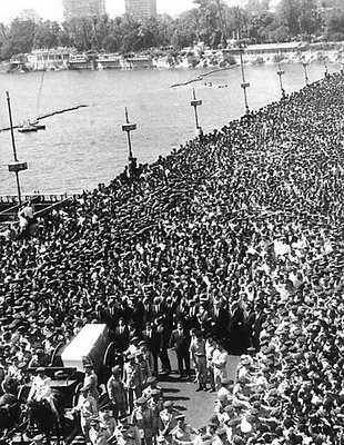 Millions of Egyptians gathered to mourn Nasser's death in 1970.