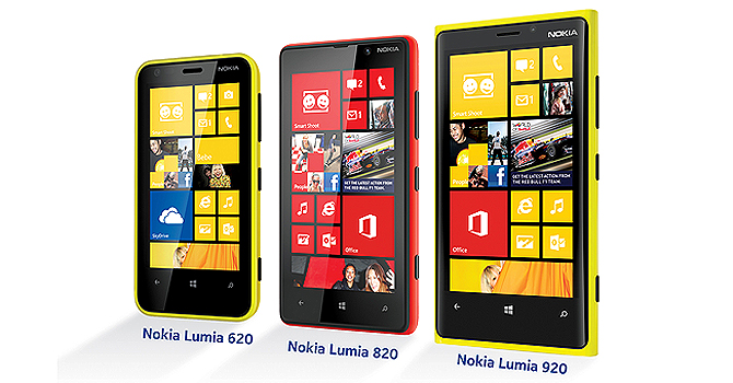 Nokia Lumia 920, 820 and 620 are pictured. - Courtesy Photo
