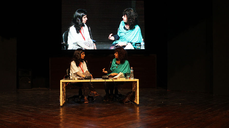 Aysha Raja with Salma Dabbagh. -Photo by Tabinda Siddiqi/Dawn.com