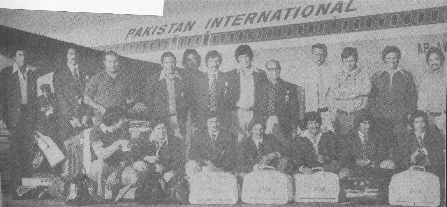The squad just before boarding the plane for the long tour (from left): Zaheer Abbas, Asif Masood, Intikhab Alam, Saleem Altaf, Mudassar Nazar, Wasim Raja, Imran Khan, Sujauddin (Manager), Imtiaz Khan (Assitant Manager), Majid Khan, Asif Iqbal, Mushtaq Muhanmmad; (sitting from left): Sarfraz Nawaz, Wasim Bari, Iqbal Qasim, Taslim Arif, Sadiq Muhammad, Javed Miandad, Sikander Bakht and (not seen in the picture), Haroon Rashid.