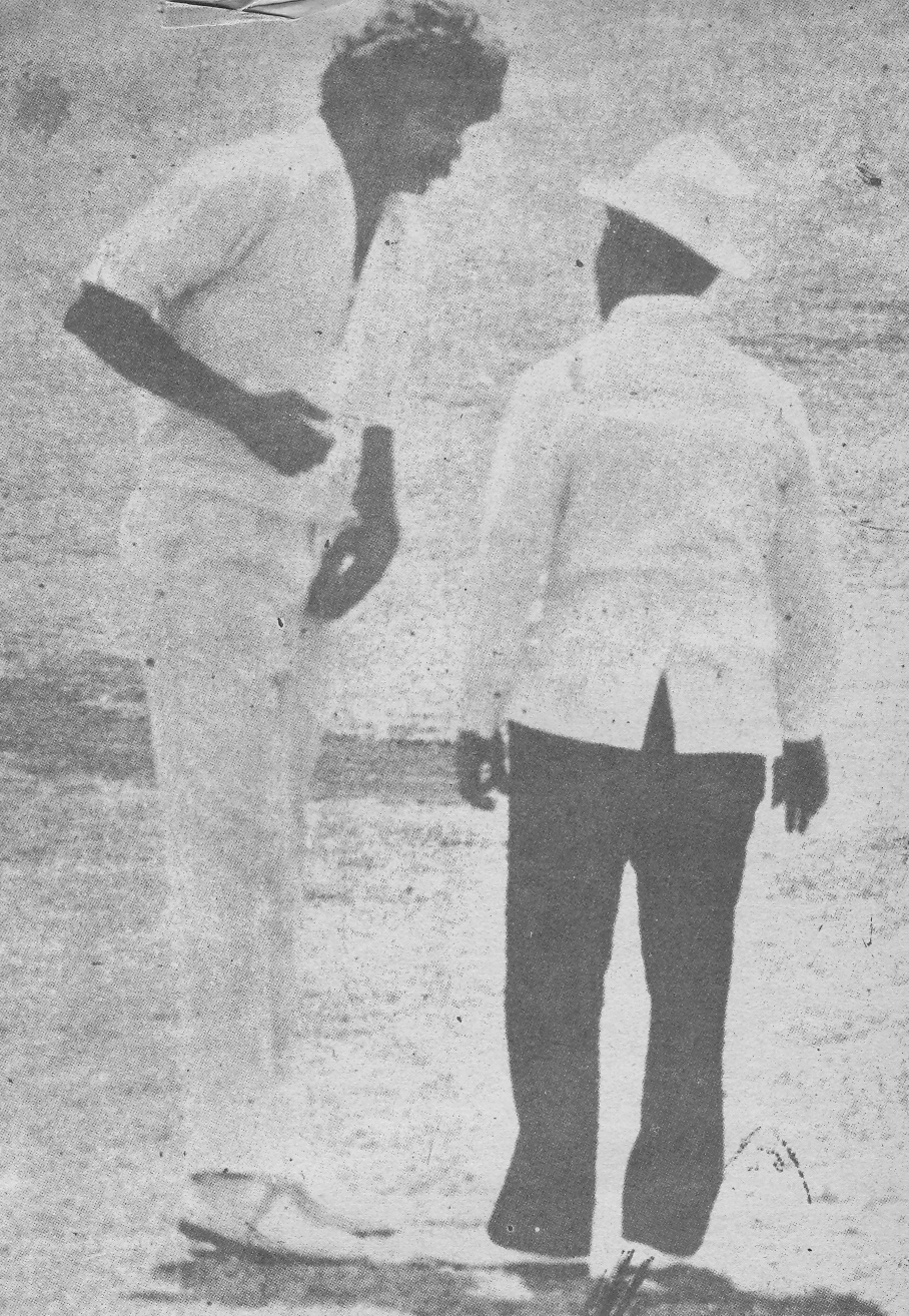 Sarfraz having a word with the West Indian umpire during the Jamaica Test.