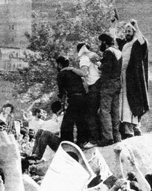 MK activists take over a building at the Tehran University as a protest against the Islamic regime in 1981.