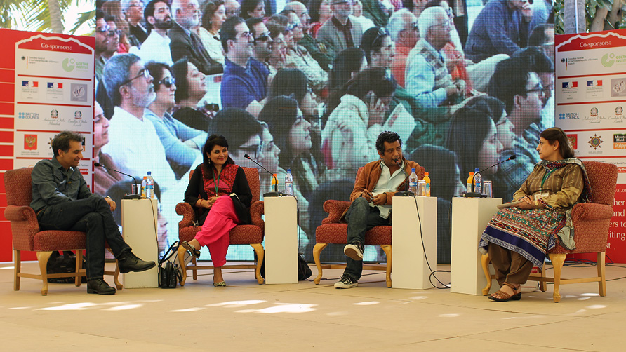 Nadeem Aslam, Kishwar Desai, Mohammed Hanif and Sarwat Mohiuddin. -Photo by Sara Faruqi/Dawn.com