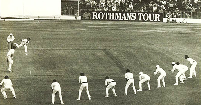 9 slips for Lillee! Australia vs. New Zealand, 1977.
