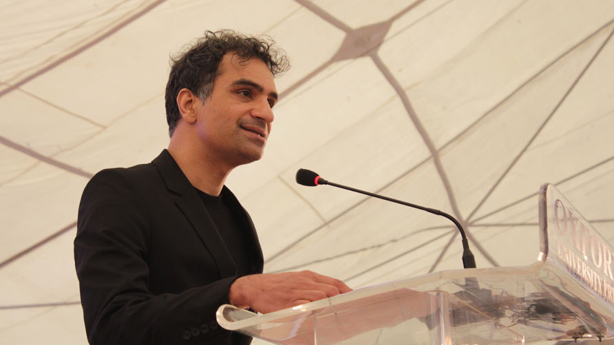 Nadeem Aslam speaking at the inauguration as KLF kicks off. - Photo by Alisia Pek Xue Ning/Dawn.com