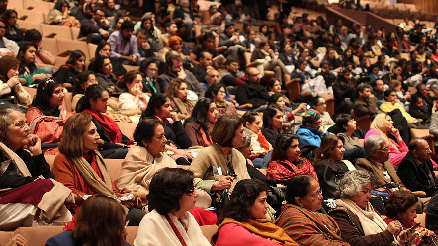 It was a full house for the Nadeem Aslam session. - Photo by Sara Faruqi/Dawn.com