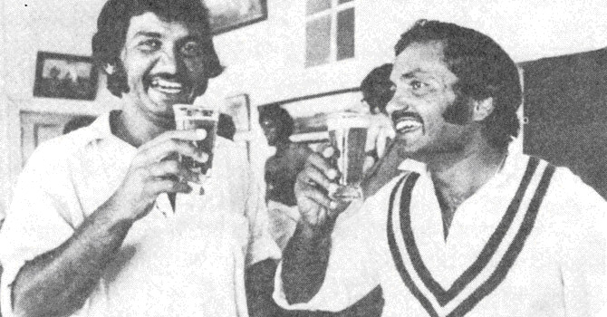 Sadiq and Mushtaq share a beer in the dressing room after the win. Seen in the background is Imran who took 12 wickets in the match.