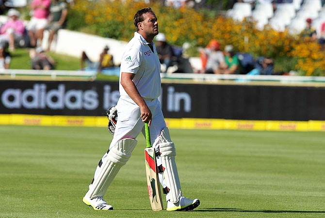 South African cricketer Jacques Kallis walks off after scoring two runs. -Photo by AFP