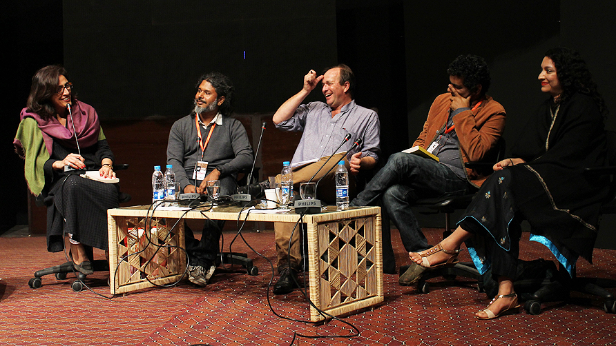 The panelists from the satire session. - Photo by Tabinda Siddiqi/Dawn.com