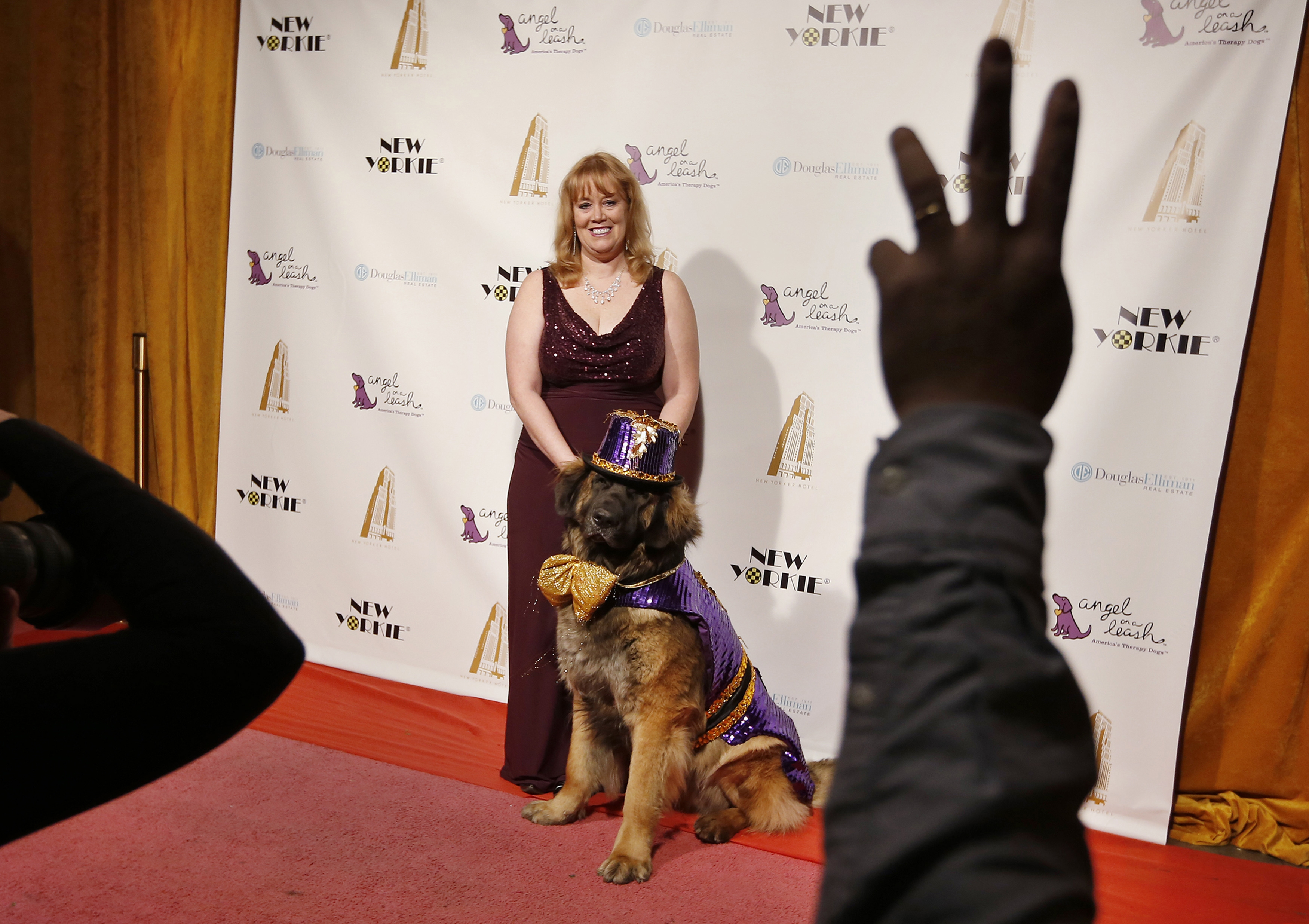 Morgan Avila stands with her dog Mr. America on the red carpet before the start of the New Yorkie Runway Doggie Fashion Show. ? Reuters Photo
