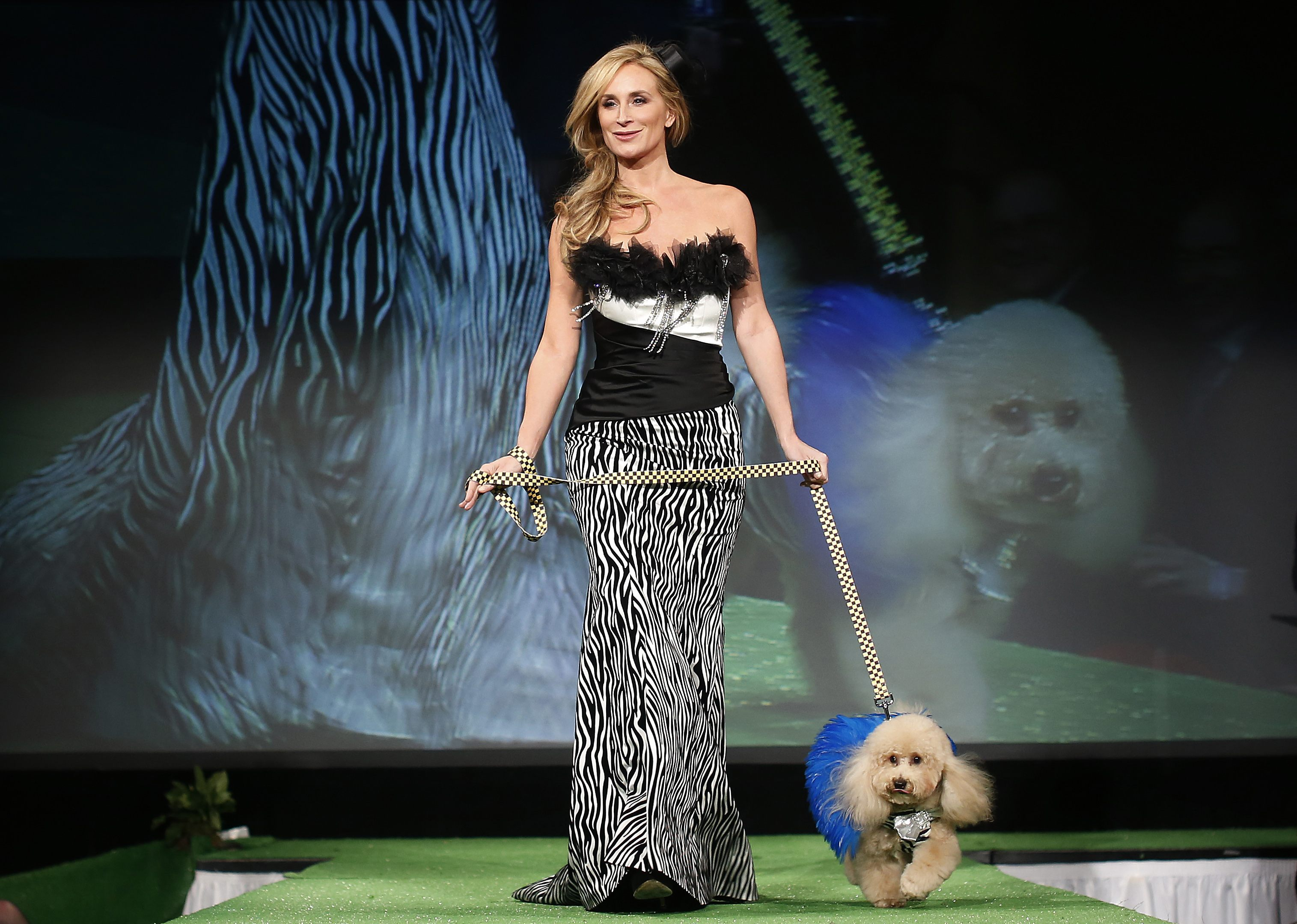 Sonja Morgan, from the Real Housewives of New York City, walks Marley,a Poodle breed,down the runway during the New Yorkie Runway Doggie Fashion Show in New York ? Reuters Photo
