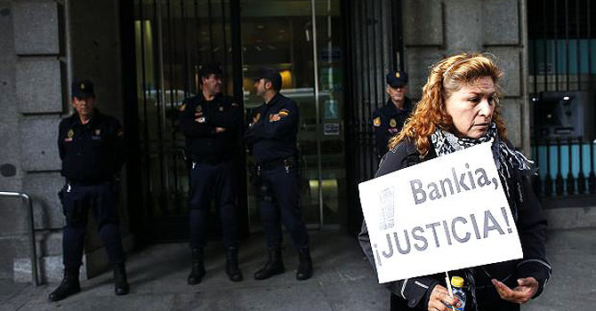 Spain's banks have been the subject of protests over their treatment of customers as they receive state aid. —Photo (File) Reuters