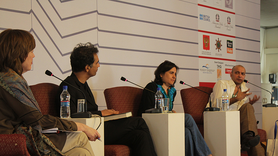 Panelists from The Other - M. Wyatt, Nadeem Aslam, Kamila Shamsie and H.M Naqvi (L-R) - Photo by Alisia Pek/Dawn.com