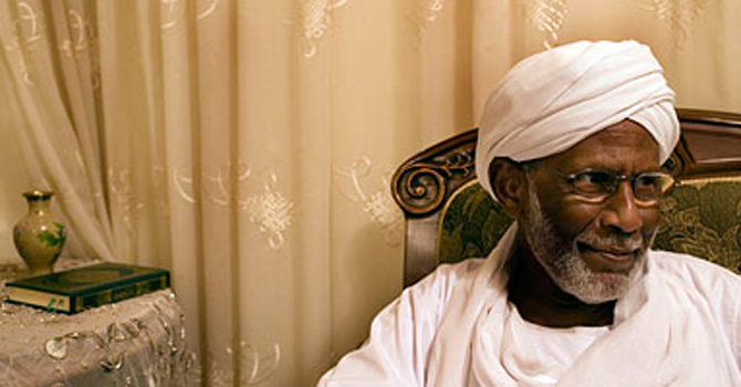 Famous Sudanese Islamist ideologue, Hasan al-Turabi.  Turabi opposed the Nimeiry regime across the 1970s, but became part of the regime when Nimeiry broke off ties with the Soviet Union and imposed a number of 'Islamic laws' in Sudan that were devised by Turabi.