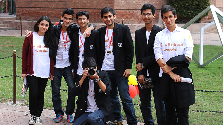 Volunteers at the Lahore Literary Festival. From left to right: Jannat Mazari, Fawaz Naeem, Zaeimuddin, Aqib Sherwani, Hamza Arshad, Saad Farrukh and Usman Alavi.