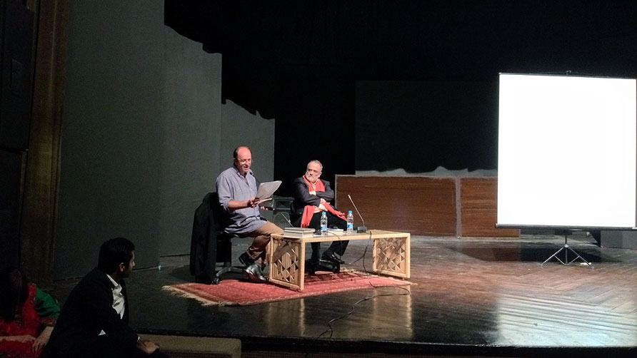 The last session was a talk between William Dalrymple and Ahmed Rashid. - Photo by Tabinda Siddiqi/Dawn.com