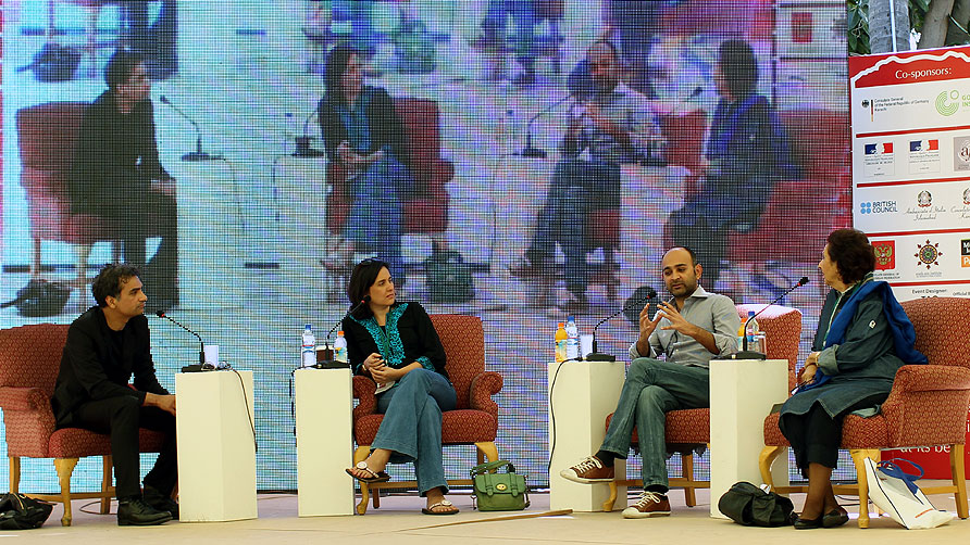 Panelists Nadeem Aslam, Kamila Shamsie and Mohsin Hamid with moderator Muneeza Shamsie (L-R). - Photo by Sara Faruqi/Dawn.com