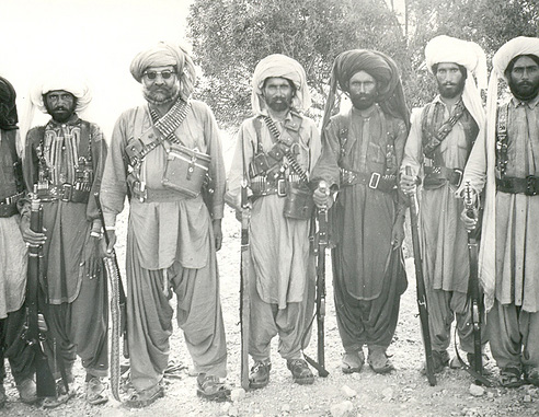 Sher Muhammad Marri (third from left) with Baloch fighters in 1968.