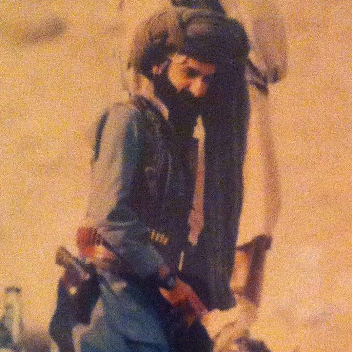 Asad Rehman tracking the mountains of Balochistan with his group of Baloch fighters in 1974.