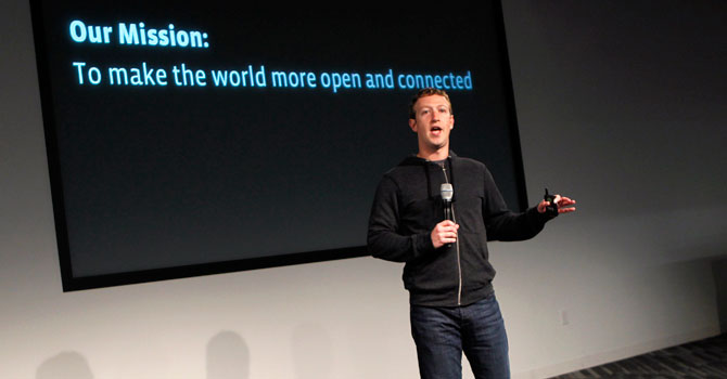 Zuckerberg addresses the audience. —Photo by Reuters