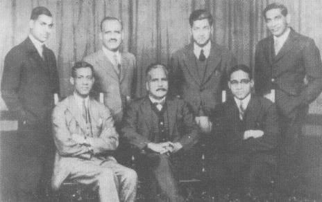 A 1935 photo of Muhammad Iqbal (sitting centre) with some literary colleagues. Parvez is sitting on the far right.