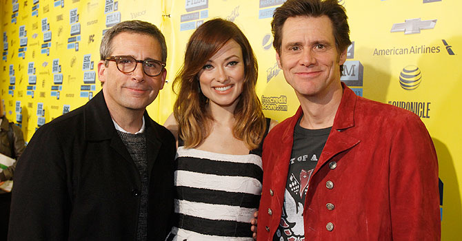 "In this photo provided by Warner Bros., Steve Carell, Olivia Wilde, and Jim Carrey arrive at the world premiere of New Line Cinema's ""The Incredible Burt Wonderstone"", a Warner Bros. Pictures release, on the opening night of the SXSW Film Festival on Friday, March 8, 2013 in Austin, Texas. (AP Photo/Warner Bros., Jack Plunkett)"