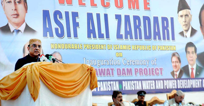 President Asif Ali Zardari addressing the inaugural ceremony of Darawat Dam project in Jamshoro district on March 9. – Photo by PPI