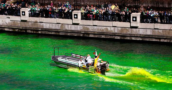 Journeymen plumbers dyed the Chicago River green to mark the start of St. Patrick's Day celebrations. —Photo (File) Reuters