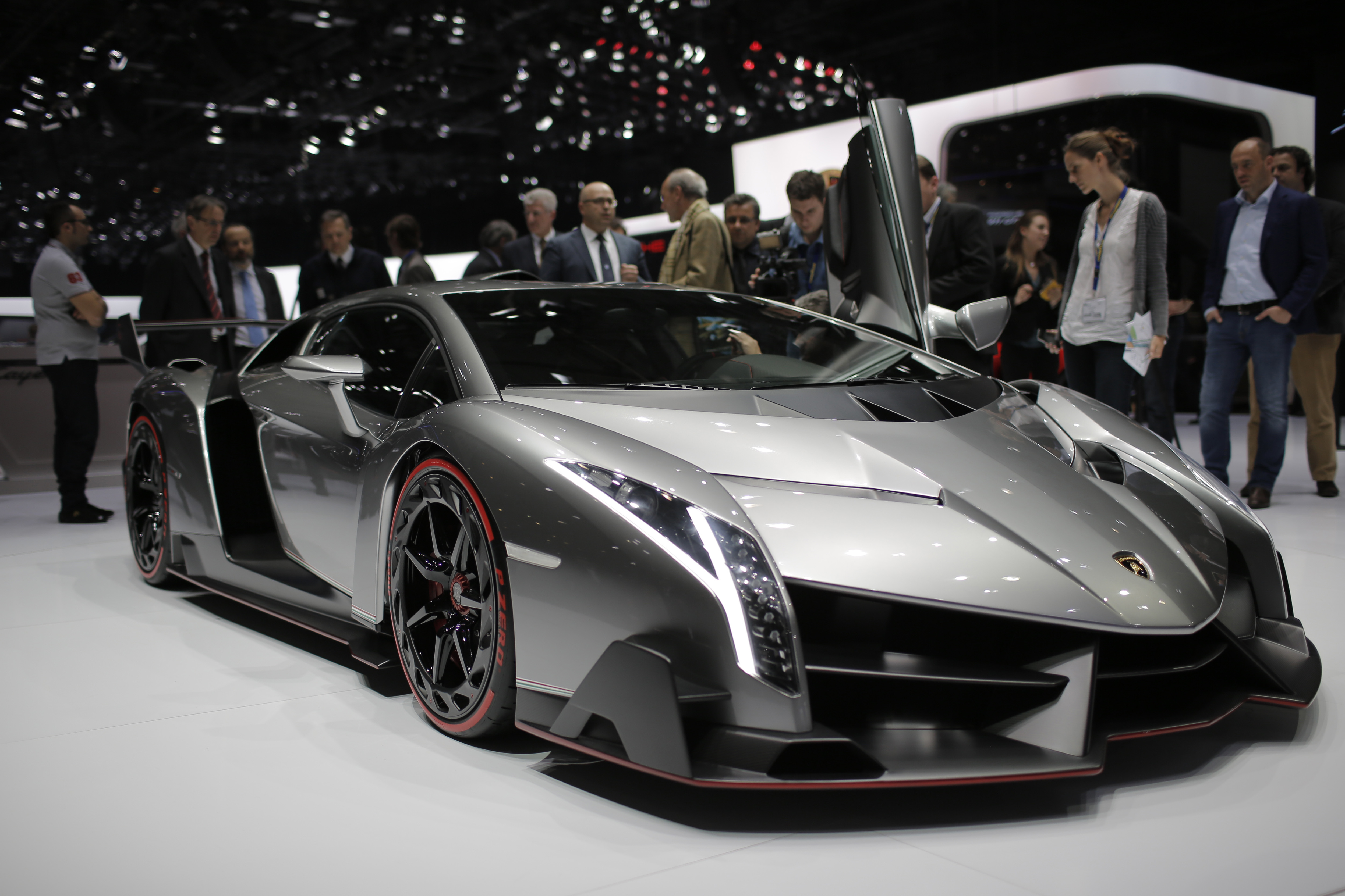 The new Lamborghini Veneno is seen during the first media day of the 83rd Geneva International Motor Show, Switzerland, Tuesday, March 5, 2013. The Motor Show will open its gates to the public from March 7 to 17.  (AP Photo/Laurent Cipriani)