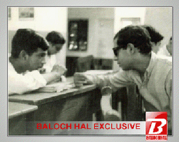 Dalip Daas (right) chatting with a friend at a Pakistani college. He soon travelled to London to join Oxford University before secretly returning to Pakistan to join the Baloch guerrilla fighters in the mountains of Balochistan.
