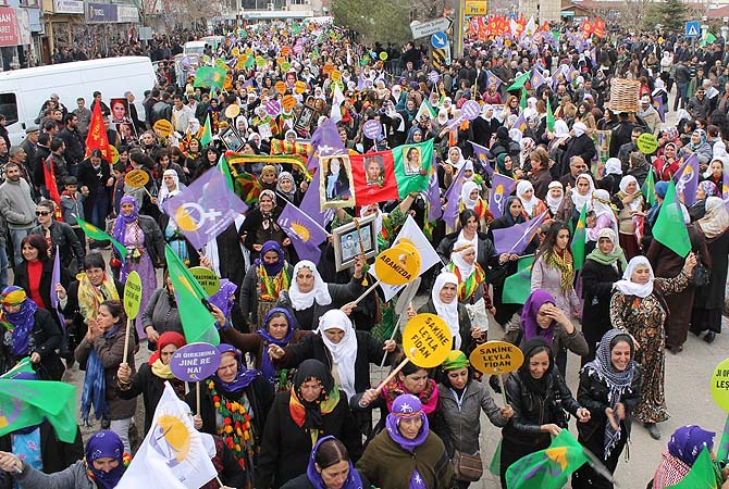 Kurdish women demonstrate during the celebration of the International Women's Day on March 8, 2013, in Tunceli. The International Women's Day is marked on March 8 every year to pay tribute to women and their achievements.?Photo by AFP