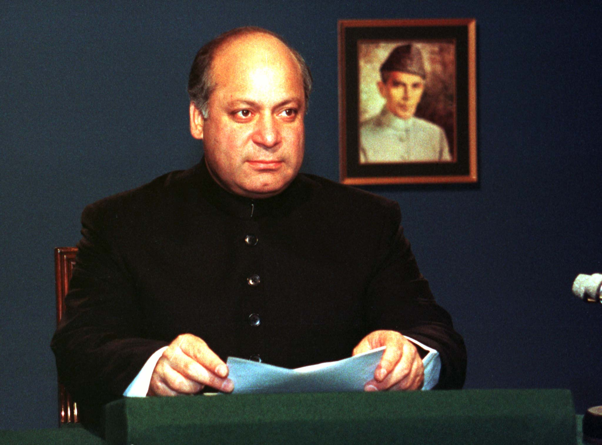 Prime Minister Nawaz Sharif sits in Islamabad July 12 prior to the recording of his address to the nation on the Kashmir showdown with India. Sharif explained the military disengagement to end the worst military standoff between Pakistan and India in 30 years. — Photo by Reuters