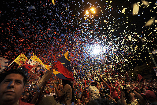 Supporters of acting Venezuelan President Nicolas Maduro attend a campaign rally in Valencia, Carabobo state. Venezuelans will elect a new president on April 14.