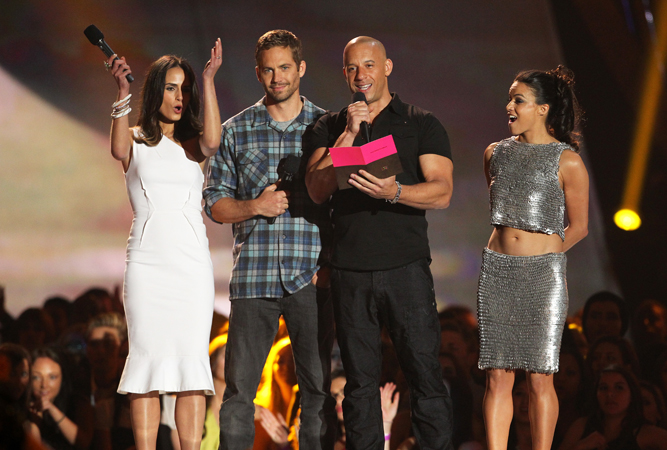 (L-R) Jordana Brewster, Paul Walker, Vin Diesel and Michelle Rodriguez from the cast of
