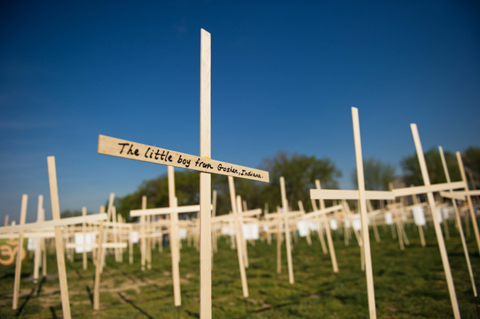 Hundreds of crosses, representing gun deaths since the Newtown, Connecticut elementary shootings, are placed on the National Mall on April 11, 2013 in Washington, DC. Two US senators have reached a compromise that would expand background checks for gun sales, an official said, in what could result in the most ambitious change to gun laws since 1994. The deal comes four months after the Connecticut shootings that took the epidemic of gun violence in the United States to an alarming new level.