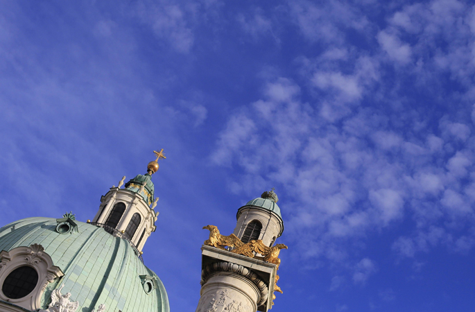 The dome and one of the two columns of the Karlskirche (St Charles's church) are seen on a sunny day in Vienna on April 11, 2013. The church and its baroque architecture are among the city's landmarks.
