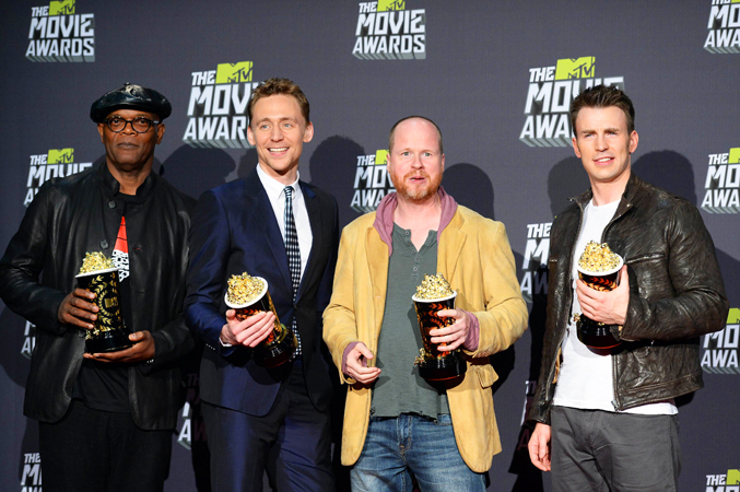 (L-R) Actors Samuel L. Jackson and Tom Hiddleston, director Joss Whedon, and actor Chris Evans, winners of Movie of the Year for Marvel's