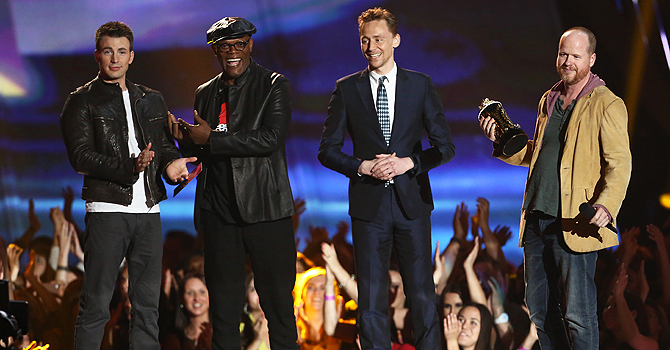 "Director Joss Whedon (R) accepts the award for movie of the year for ""The Avengers"" with cast members Chris Evans (L), Samuel L. Jackson (C) and Tom Hiddleston at the 2013 MTV Movie Awards. —Reuters Photo"