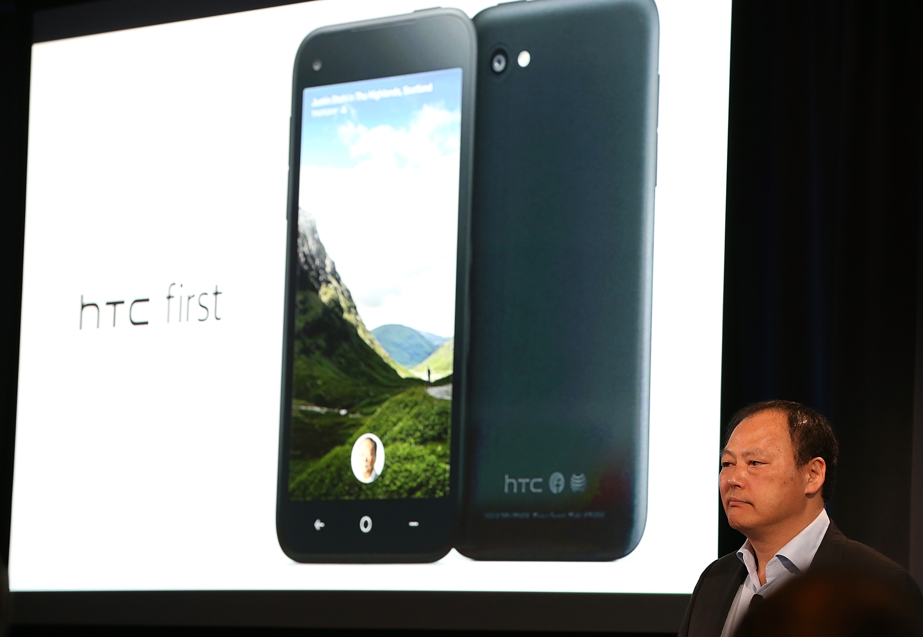 MENLO PARK, CA - APRIL 04: HTC CEO Peter Chou presents the new HTC First phone during an event at Facebook headquarters during an event at Facebook headquarters on April 4, 2013 in Menlo Park, California. Facebook CEO Mark Zuckerberg announced a new product for Android called Facebook Home as well as the new HTC First phone that will feature the new software.   Justin Sullivan/Getty Images/AFP== FOR NEWSPAPERS, INTERNET, TELCOS & TELEVISION USE ONLY ==