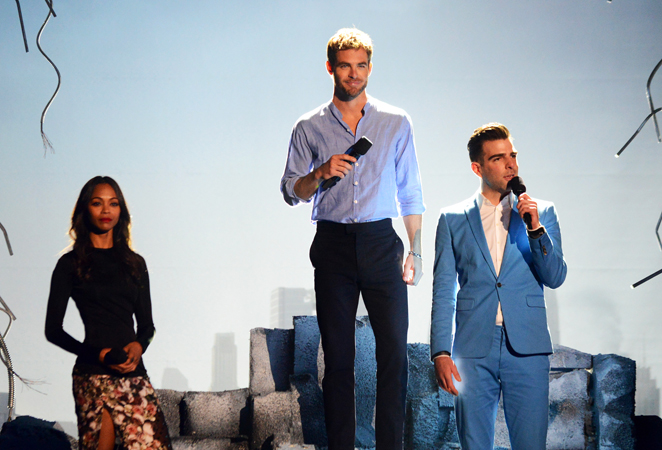Actors Zoe Saldana, Chris Pine and Zachary Quinto onstage at the MTV Movie Awards.