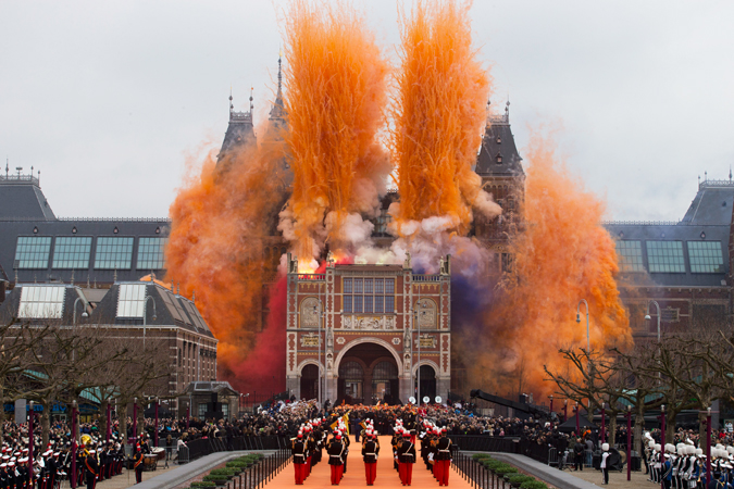 "Fireworks are seen during the official opening of the renovated Rijksmuseum in Amsterdam, Netherlands, Saturday April 13, 2013. The Rijksmuseum, home of Rembrandt's ""The Night Watch"" and other national treasures reopens its doors to the public after a decade-long renovation. The first day, Saturday April 13, admissions are free and the museum stays open until midnight."