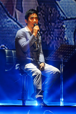 Hong Kong actor Tony Leung speaks during the concert in memory of Leslie Cheung. Leung and Cheung starred in Wong Kar-Wai's