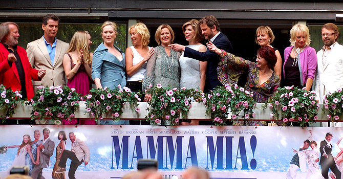 Cast and members of Abba appear together at the premiere of the motion picture version of the musical 'Mamma Mia' in Stockholm July 4, 2008. — Reuters (File) Photo