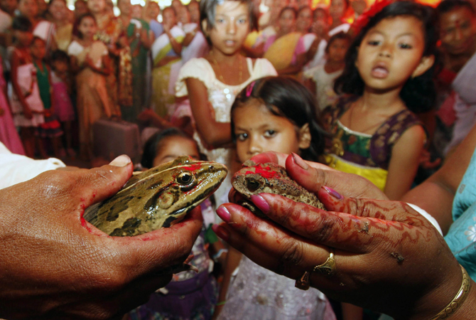 Children watch as villagers solemnise a frog marriage at Kotabari, on the outskirts of the northeastern Indian city of Guwahati. The frog marriage is a traditional ritual observed by the rural folk to appease the gods to bring in rain and ensure a good harvest.